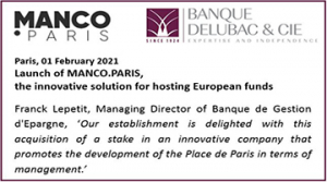 Launch of MANCO.PARIS with equity investment in Banque Delubac & Cie